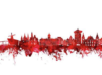 Digital Art - Amsterdam Skyline Watercolor Red by Bekim Art