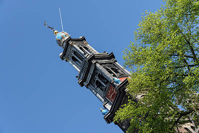 Photograph - Amsterdam Spring - Blue Crown Westerkerk Bell Tower Above The Trees by Georgia Mizuleva