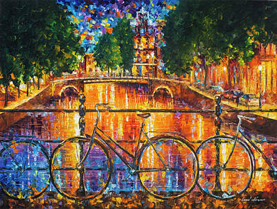 Painting - Amsterdam - The Bridge Of Bicycles  by Leonid Afremov
