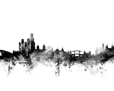 Amsterdam Wall Art - Digital Art - Amsterdam The Netherlands Skyline 4x5 Ratio by Michael Tompsett