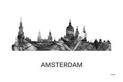 Amsterdam Digital Art - Amsterdam The Netherlands Skyline by Marlene Watson