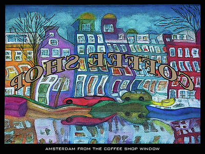 Amsterdam Through The Coffee Shop Window Art Print