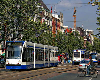 Photograph - Amsterdam Tram by Anthony Dezenzio
