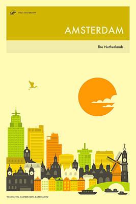 Amsterdam Digital Art - Amsterdam Travel Poster by Jazzberry Blue