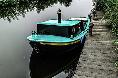 Photograph - Amsterdam Turquoise Boat by William Kimble