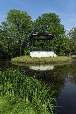 Photograph - Amsterdam Vondelpark - Elegant Garden Gazebo With A Heron On The Roof by Georgia Mizuleva