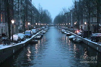 Boats In Reflecting Water Photograph - Amsterdam Winter Blues by Carol Groenen