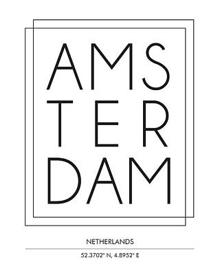 Netherlands Mixed Media - Amsterdam, Netherlands - City Name Typography - Minimalist City Posters by Studio Grafiikka