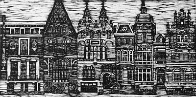 Netherlands Mixed Media - Amsterdam Woodcut by Lauren Ullrich