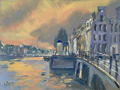 Painting - Amsterdm Morning Light Amstel by Nop Briex