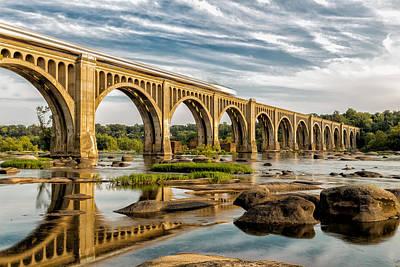Richmond Virginia Photograph - Amtrak Over The James by Tim Wilson