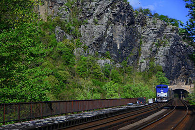 Photograph - Amtrak Arrives In Harpers Ferry by Raymond Salani III