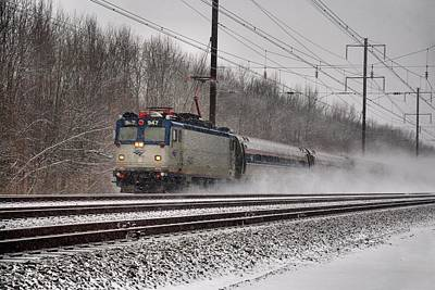 New Jersey Photograph - Amtrak In Snowstorm by Steven Richman