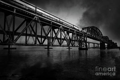 Bay Bridge Digital Art - Amtrak Midnight Express 5d18829 Black And White by Wingsdomain Art and Photography