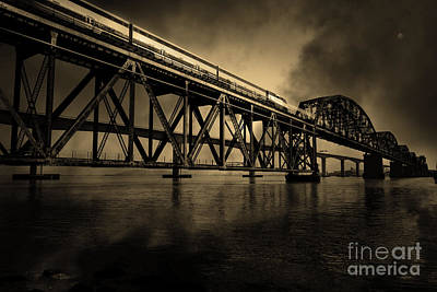 Bay Bridge Digital Art - Amtrak Midnight Express 5d18829 Sepia by Wingsdomain Art and Photography