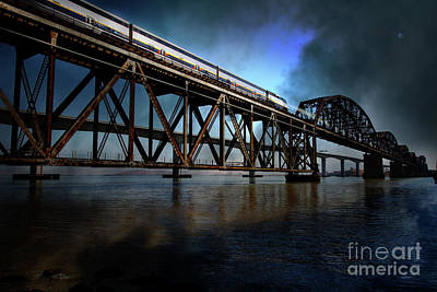 Bay Bridge Digital Art - Amtrak Midnight Express 5d18829 by Wingsdomain Art and Photography