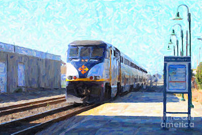 Train Tracks Photograph - Amtrak Train At The Station by Wingsdomain Art and Photography