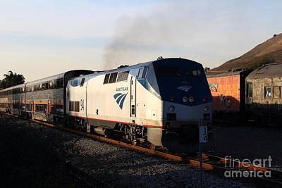 Niles Town Plaza Photograph - Amtrak Trains At The Niles Canyon Railway In Historic Niles District California . 7d10856 by Wingsdomain Art and Photography