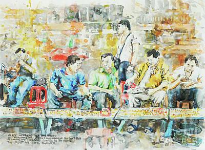 Bangkok Painting - Amulet Vendors, Bangkok  by Gordon Tardio