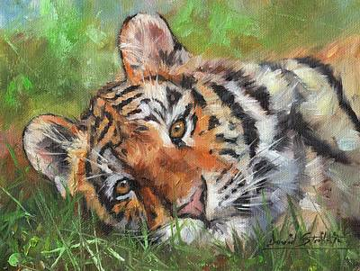 Painting - Amur Tiger Resting by David Stribbling