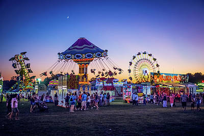 Amusement Park Rides At Night Art Print