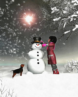 Amy And Buddy Building A Snowman Art Print