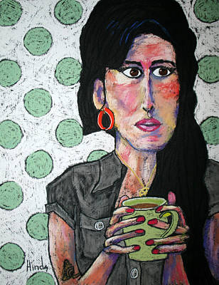 Outsider Art Pastel - Amy Winehouse by David Hinds