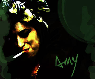 Adele Mixed Media - Amy Green And Black  by Enki Art