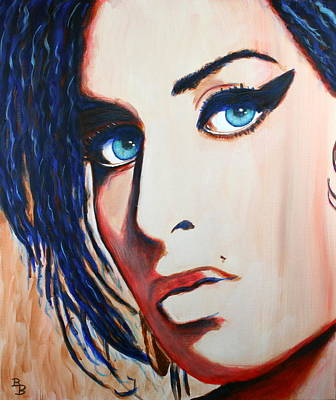 Painting - Amy Winehouse Back To Blue by Bob Baker