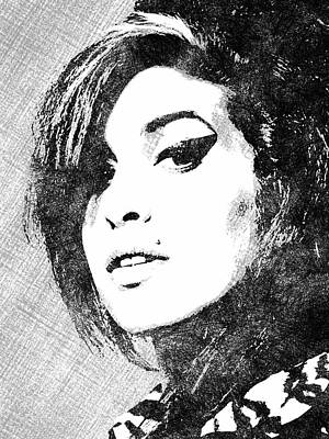 Drawing - Amy Winehouse Bw Portrait by Mihaela Pater
