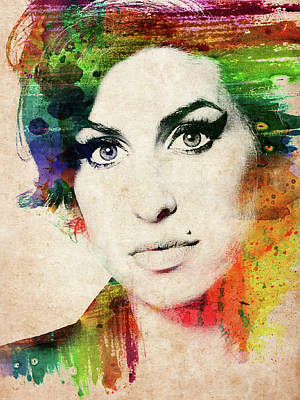 Digital Art - Amy Winehouse Colorful Portrait by Mihaela Pater