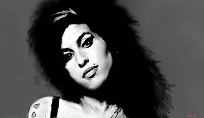 Rock Stars Painting - Amy Winehouse  by Enki Art