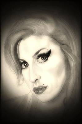 Soul Singer Drawing - Amy Winehouse by Fred Larucci