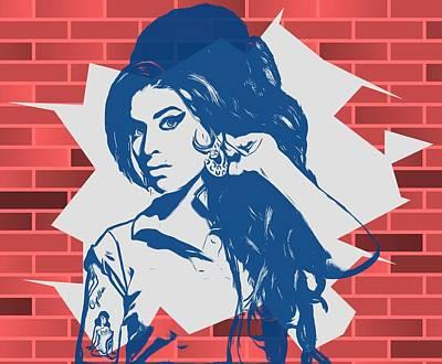 Tribute To Women Digital Art - Amy Winehouse Graffiti Tribute by Dan Sproul