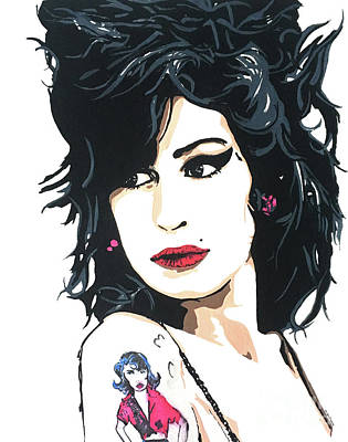 Painting - Amy Winehouse Part 2 by Nancy Mergybrower