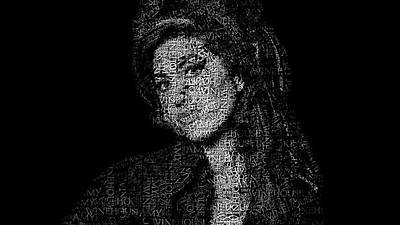 Pop Star Photograph - Amy Winehouse Text Portrait - Typographic Face Poster With The Songs For The Back To Black Album by Jose Elias - Sofia Pereira