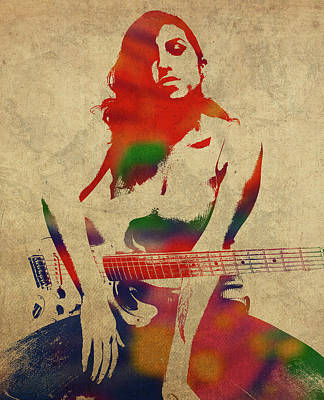 Singer Mixed Media - Amy Winehouse Watercolor Portrait by Design Turnpike