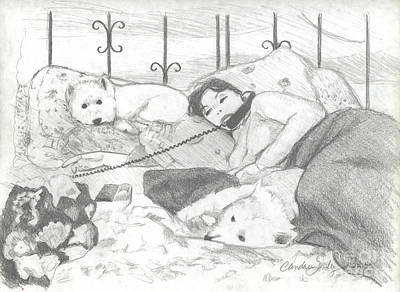 Amy With Dogs On Phone Original