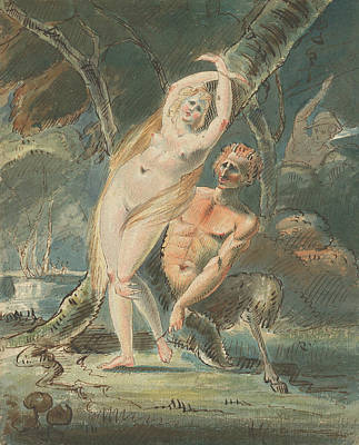 Drawing - Amymone With A Lecherous Satyr by Treasury Classics Art