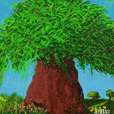 Prussian Blue Painting - Amy's Tree by Angela Annas