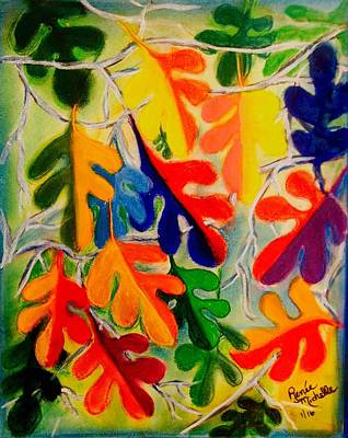 Painting - An Abstract Of Autumn Oak Leaves by Renee Michelle Wenker