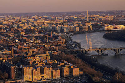 An Aerial View Of D.c. And The Potomac Art Print by Kenneth Garrett