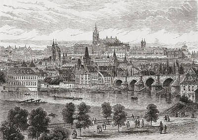 Charles Bridge Drawing - An Aerial View Of Prague, Czech by Vintage Design Pics