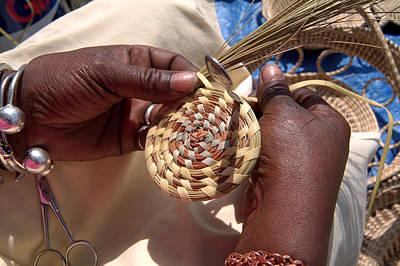 An African American Woman Basket Weaves Art Print