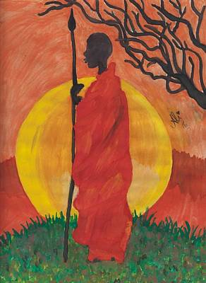 Saba Painting - An African Man by Bobby Dar