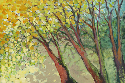 Modern Tree Painting - An Afternoon At The Park by Jennifer Lommers