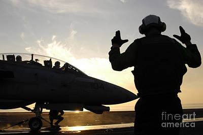 Cockpit Photograph - An Aircraft Handling Petty Officer by Stocktrek Images