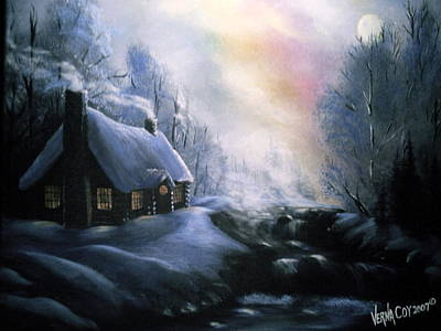 Painting - An Alaskan Night by Verna Coy