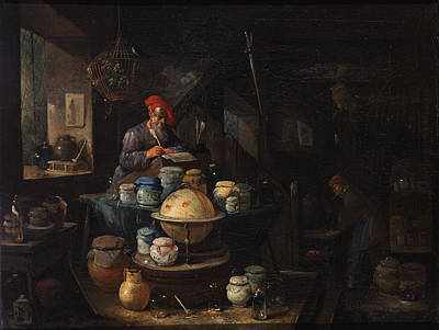 Alchemist Painting - An Alchemist In His Study by Egbert van Heemskerck