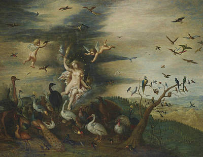 Swans... Painting - An Allegory Of Air by Jan Brueghel the Elder